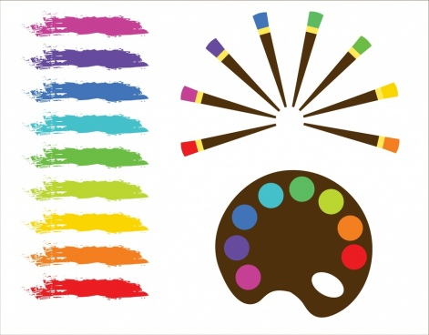 water color codes samples colorful grunge brush icons