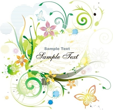 Water Color Floral Frame Vector illustration