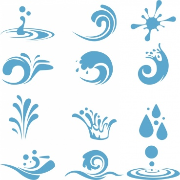 water design elements various blue curved icons