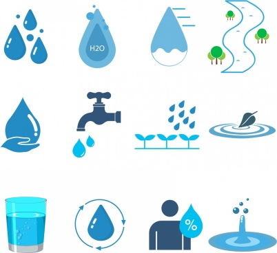 water design elements various blue icons