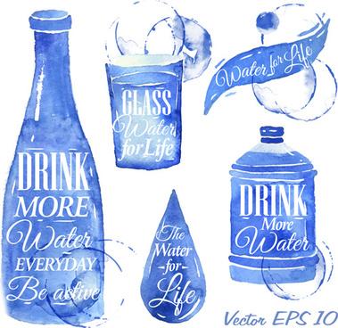 water design elements watercolor vector