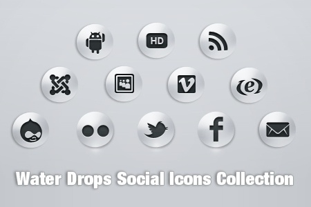 water drop social icons collection black white design