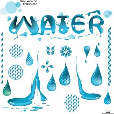 water design elements blue droplets icons deformation decor