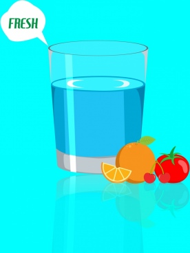 water glass advertisement 3d colored design fruits icons