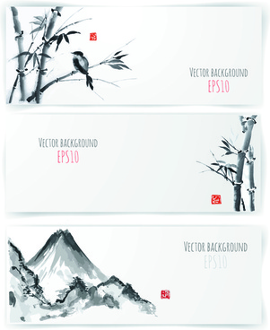 water ink bamboo banner vector