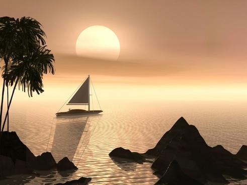 water sailboat serene