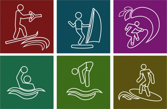 water sports icons collection white silhouette symbols isolation