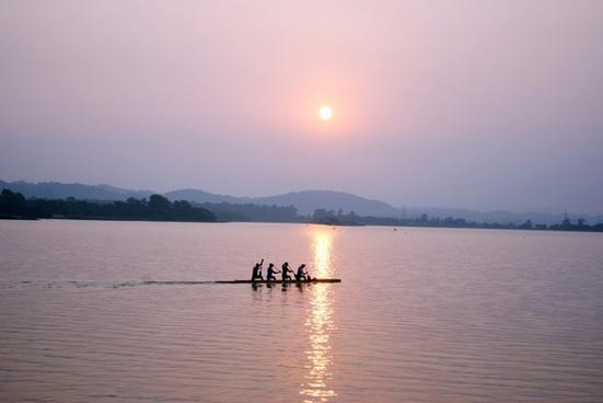 water sunrise boat