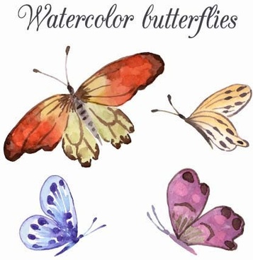 watercolor butterflies design background vector