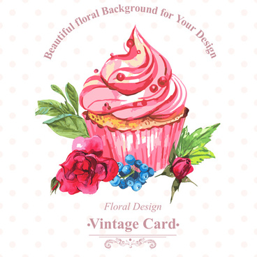 watercolor cupcakes with vintage card vector