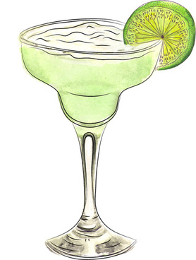 watercolor doodle margarita cocktail
