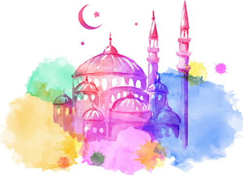 watercolor drawing ramadan kareem vector background