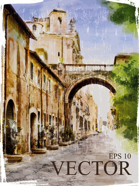 watercolor drawn city vector graphics