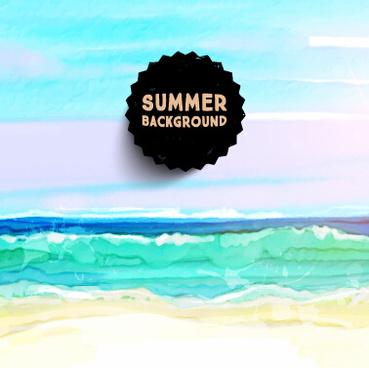 watercolor drawn summer background vector