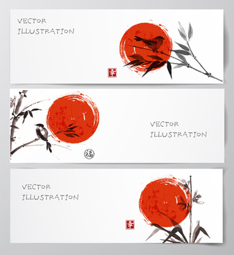 watercolor drawn with banners vector set