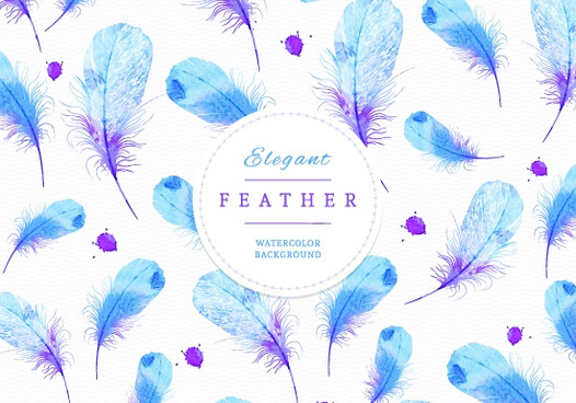 watercolor feather art background vector