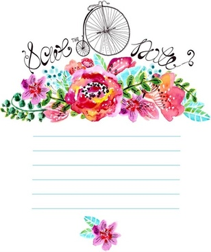 watercolor floral decorations notebook vector