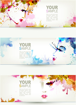 watercolor floral girls banner vector