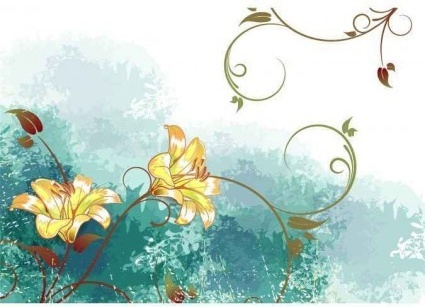 watercolor flower background vector graphics