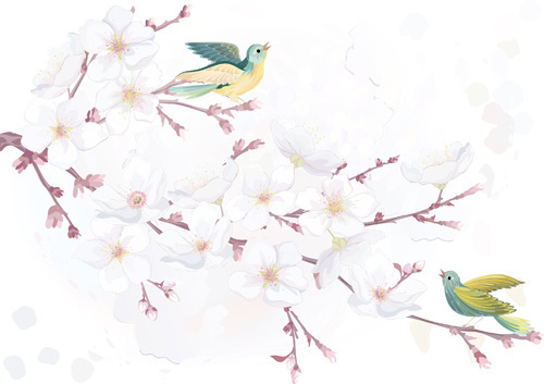 Watercolor Flowers And Birds Vector