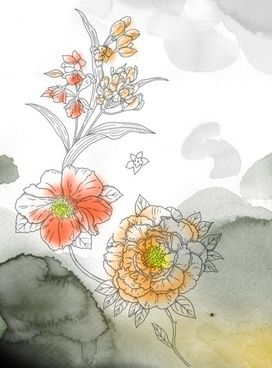 watercolor flowers series psd layered