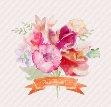 watercolor flowers with ribbon vectors
