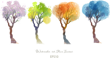 watercolor four seasons trees vector