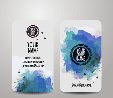 watercolor grunge business cards vector