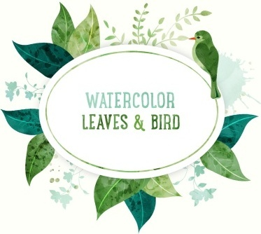 watercolor leaves with bird vector background
