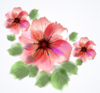 watercolor pink flower hand drawn vector