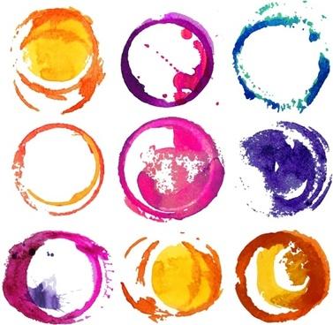 watercolor round design vector