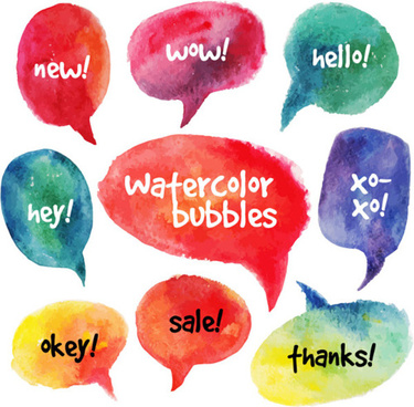 watercolor speech bubbles for your text vector