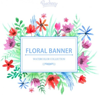 watercolor stylized floral banner