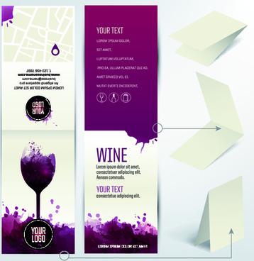 watercolor wine menu design vector