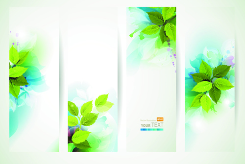 watercolor with green leaves banner vector