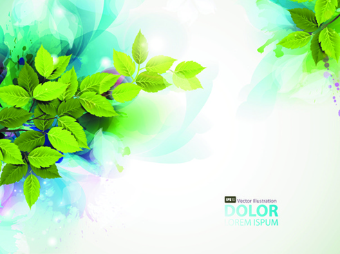 watercolor with green leaves vector background art