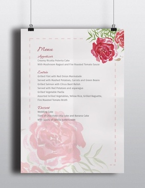 watercolour flower wedding menu template the smell of roses
