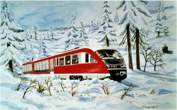 watercolour painting train