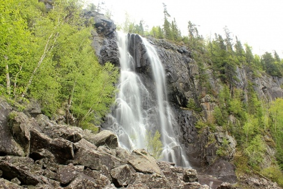 waterfall by the roadside at lake nipigon ontario canada