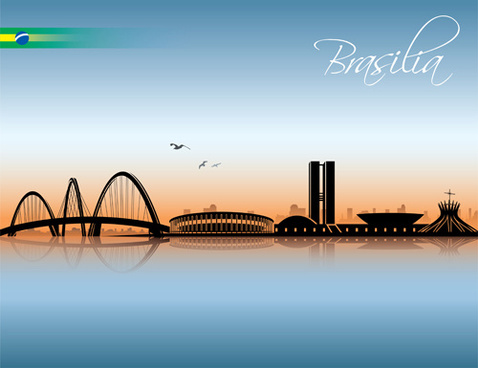 waterfront city creative silhouette vector