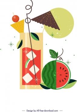 watermelon juice background colorful classical decor