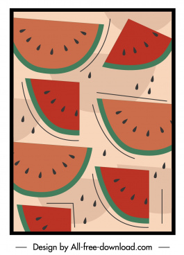 watermelon pattern template flat colored classic decor