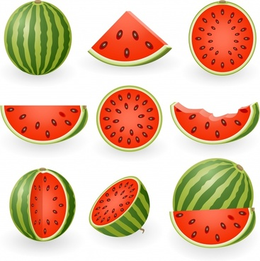 watermelon icons 3d colored slices design