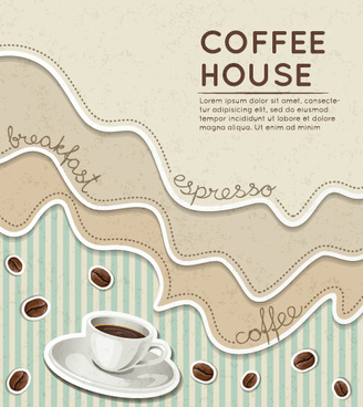 wave coffee house background vector