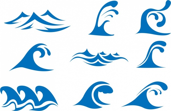 wave icons collection blue curves design