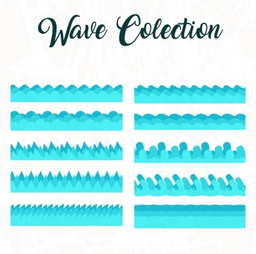 wave icons collection blue flat design