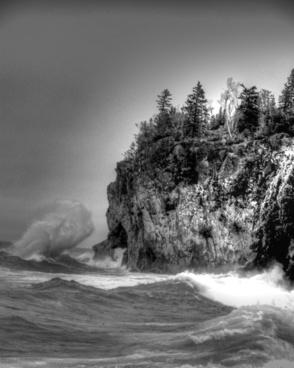 wave lake superior black and white