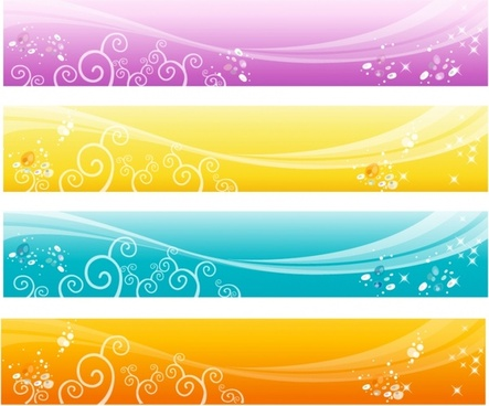 decorative background sets sparkling curves ornament