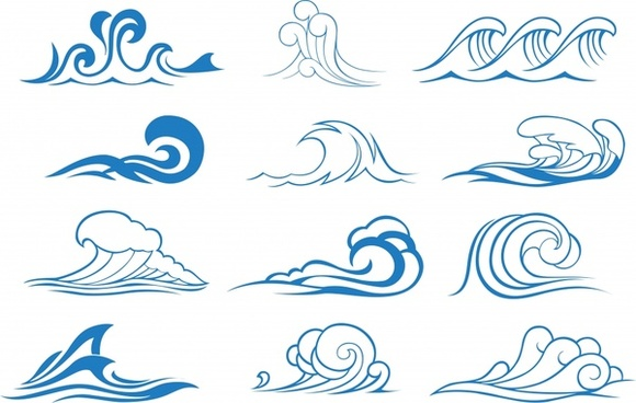 wave design elements blue curves sektch