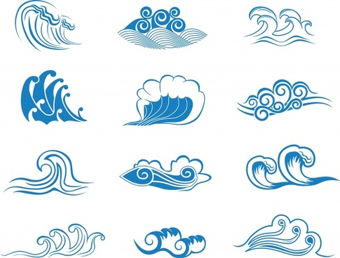 waves icons templates classical blue curved sketch
